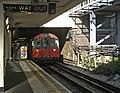 Tube Train approaching southbound platform, Oakwood Station, London N14 - geograph.org.uk - 992651.jpg