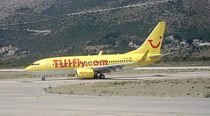 Dubrovnik Airport - TUIfly Boeing 737-700 taxiing at Dubrovnik Airport