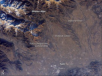 Stura di Lanzo - Astronaut photograph showing the river descending from the Graian Alps
