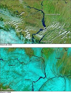 Maritsa - Satellite image of floods along the river in 2006.