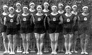 Estella Agsteribbe - 1928 Summer Olympic gold medal gymnastic team. Estella Agsteribbe is fifth from the right.