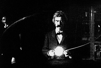 Nikola Tesla - Mark Twain in Tesla's South Fifth Avenue laboratory, 1894