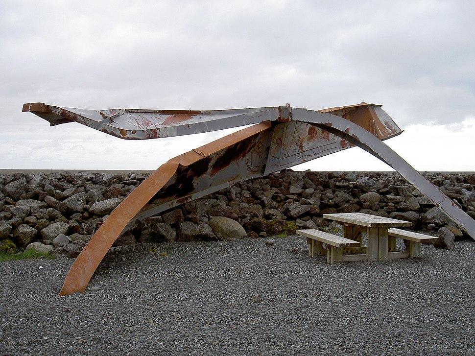 Twisted bridge Skaftafell due to Glacial lake outburst flood