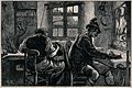 Two men are sitting at a work bench making musical instrumen Wellcome V0040301.jpg