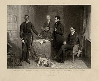 Henry Room - Engraving (1844) of the 1835 Parliamentary delegation from South Africa, led by John Philip by Richard Woodman after Henry Room
