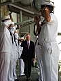 U.S. Sailors salute Secretary of the Navy Ray Mabus as he arrives aboard the guided missile cruiser USS Monterey (CG 61) May 16, 2013, at Khalifa Bin Salman Pier in Manama, Bahrain 130516-N-AC887-012.jpg