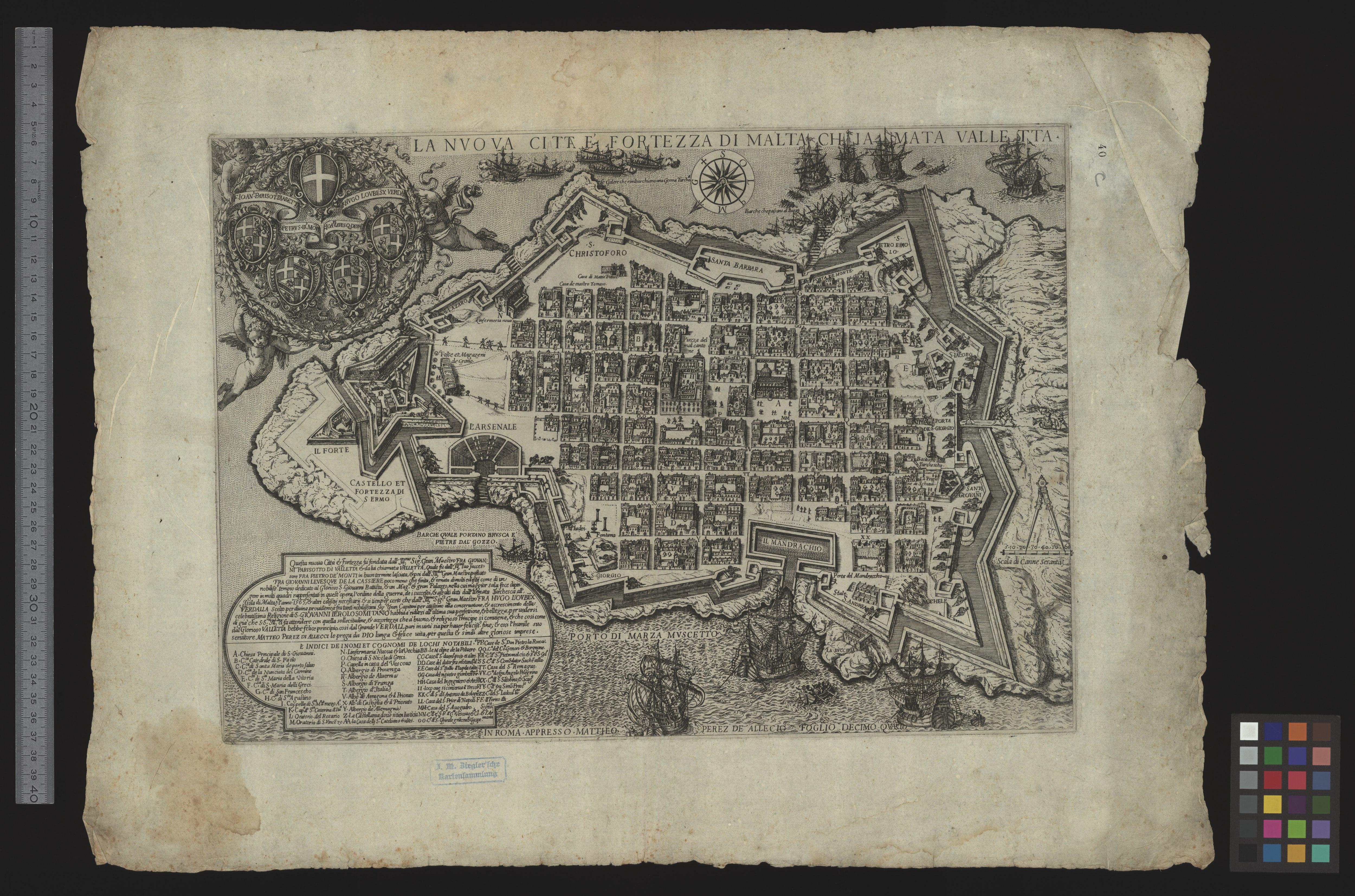 Das Jesuitenkolleg und die Kirche, wie auf einer Karte von Valletta dargestellt, c.  1600