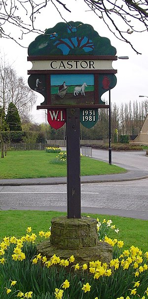 Castor, Cambridgeshire - Signpost in Castor