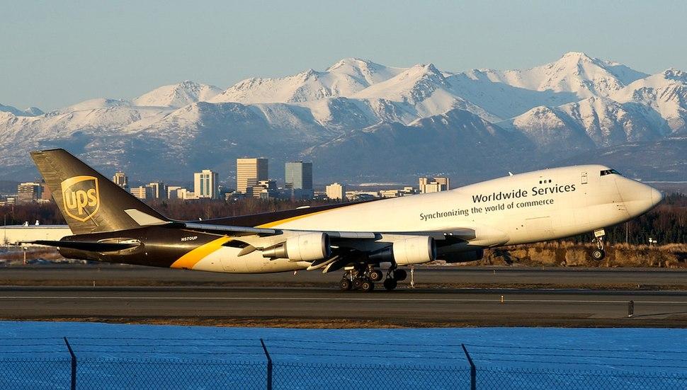 UPS Boeing 747 landing in Anchorage, Alaska