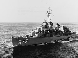 USS McDermut (DD-677) underway in the 1950s
