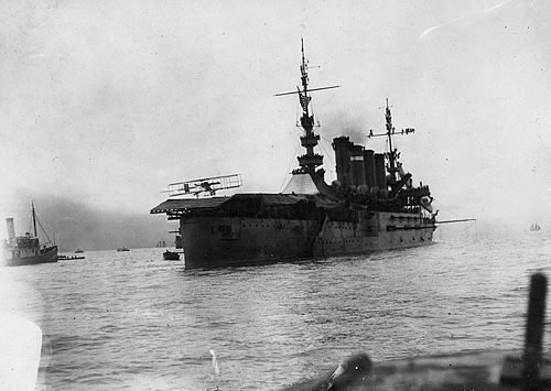First fixed-wing aircraft landing on a warship: Ely landing his plane on board the USS Pennsylvania in San Francisco Bay, January 18, 1911. USS Pennsylvania - First airplane landing.jpg