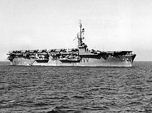 USS Puget Sound (CVE-113) at anchor in Tokyo Bay in October 1945