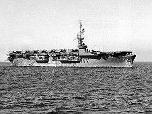 USS Puget Sound (CVE-113) - USS Puget Sound (CVE-113) at anchor in Tokyo Bay in October 1945