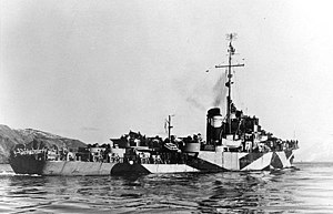 USS Rockford seen here with dazzle camouflage