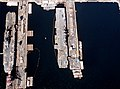 USS Tarawa (LHA-1) and Essex (LHD-2) aerial view at Long Beach NS in 1993.jpg