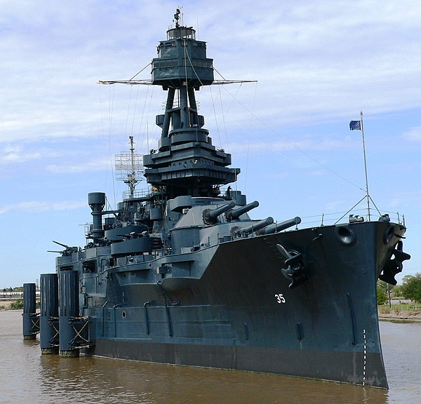USS Texas, the only dreadnought still in existence, was launched in 1912 and is now a museum ship. USS Texas BB-35.jpg
