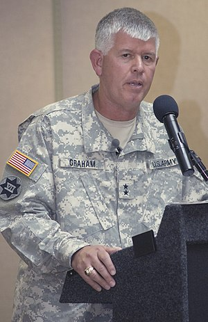 English: Maj. Gen. Mark Graham speaks openly a...