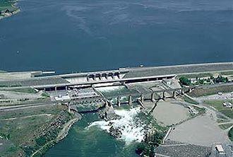 American Falls Dam - Aerial view of the dam