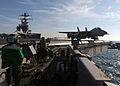 US Navy 050121-N-2984R-003 An F-14B Tomcat launches from the flight deck of the Nimitz-class aircraft carrier USS Harry S. Truman (CVN 75).jpg