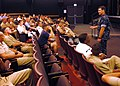 """US Navy 050628-N-8937A-057 Commander, Task Force Warrior, Capt. Randy Morgan speaks to senior enlisted and junior officers regarding the Navy's """"Excellence Through Commitment and Education and Learning"""" initia.jpg"""