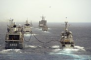 US Navy 060607-N-0318R-048 HNLMS Zuiderkruis (A 832) performs an underway replenishment with HNLMS Van Nes (F 833) while in formation with other ship participating in the Dutch-led exercise Joint Caribe Lion 2006