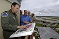 US Navy 060825-N-3642E-195 36th Wing Commander, Col. Michael R. Boera, left, assigned to Andersen Air Force Base, gives the Secretary of the Navy (SECNAV), the Honorable Dr. Donald C. Winter, an overview of the airfield on Guam.jpg