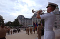 US Navy 070911-N-1134L-009 Midshipman 4th Class Michael L. Harrison plays taps as the Brigade of Midshipmen pays tribute to those who lost their lives during the Sept. 11 terrorist attacks.jpg