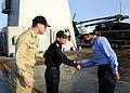 US Navy 090502-N-7280V-023 Indian Navy Rear Adm. Anurag G. Thapliyal, Flag Officer Commanding Eastern Naval Command, and Japan Maritime Self-Defense Force Rear Adm. Hitoshi Noguchi greet each other.jpg