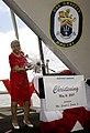 US Navy 090516-N-5549O-153 Ship's sponsor Alma Bernice Clark Gravely, wife of the late Vice Admiral Samuel L. Gravely, christens the Arleigh Burke-class destroyer Gravely (DDG-107).jpg