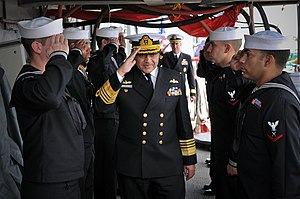 Noman Bashir - Admiral Bashir salutes to Navy personnel of Pakistan and U.S.