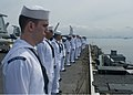 US Navy 100908-N-0754Y-081 Sailors man the rails aboard USS George Washington (CVN 73) as the ship sails out of Manila Bay.jpg