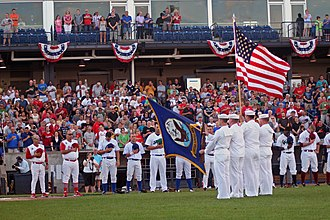 Quad Cities River Bandits - US Navy parades the colors during opening ceremonies for the 2011 All-Star Game