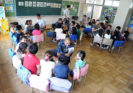 US Navy 110624-N-VE260-654 Sailors assigned to Naval Air Facility Atsugi teach elementary students English at Terao Elementary School