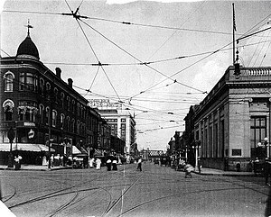 Mississippi Lofts and Adler Theatre - The Davenport Block (c. 1915) on the left where the Mississippi Lofts and Adler Theatre stand today.