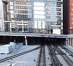 Union Station Tracks heading underneath Boeing International Headquarters (6591977499).jpg