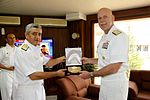 United States Seventh Fleet Commander, Vice Admiral Scott H Swift, receiving a momento from Vice Admiral Satish Soni.jpg