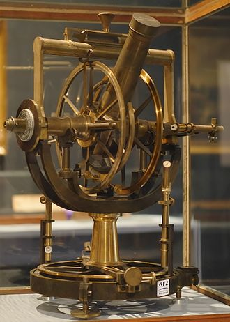 Theodolite - A theodolite of 1851, showing the open construction, and the altitude and azimuth scales which are read directly.