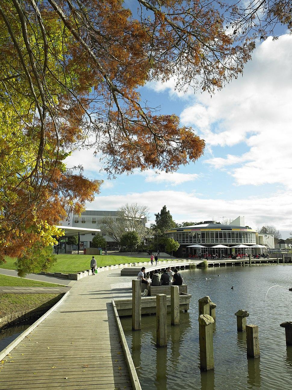 University of Waikato lake by the village green