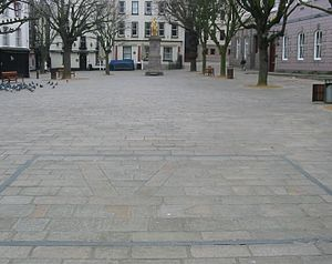 Channel Islands - During the German occupation of Jersey, a stonemason repairing the paving of the Royal Square incorporated a V for victory under the noses of the occupiers. This was later amended to refer to the Red Cross ship Vega. The addition of the date 1945 and a more recent frame has transformed it into a monument.