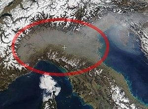 Padania - Satellite picture of the Po Valley or Pianura padana
