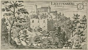 Lihtenberk Castle - Lihtenberk Castle as depicted by Johann Weikhard von Valvasor in 1679