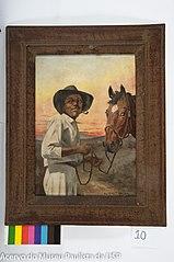 Negro com Chapéu, Fumando Charuto, Segurando Rédea de Cavalo