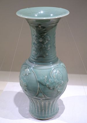"Longquan celadon - ""Blueish green"" celadon with applied peony scroll design, Southern Song dynasty, 13th century AD"