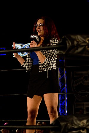 Veda Scott - Scott speaks at a Ring of Honor event in 2014.