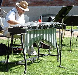 """The """"One-Nighter"""" vibraphone (old design), the entry-level model in Musser's line. Highly popular for its successful mix of affordability, transportability and decent sound. Photo by Kelly Martin"""