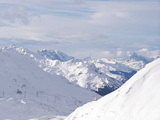St Anton am Arlberg - The view over the Galzig as seen from the Kapall.