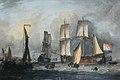 Vijf katschepen op de rede van Hoorn door Jan Claesz Rietschoof (1652-1719).jpg