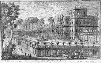 Villa Doria Pamphili - The Casino in G. Vasi's etching, c 1740, shows the giardino segreto of the lower terrace, ordinarily visible only from the casino and the upper terraces; orange trees in pots punctuate its balustrades. Vasi merely indicates the patterned parterre beds on the lowest level, later swept away by the familiar extensive landscape.