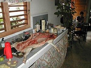 Culture of Cuba - At a casa particular in Viñales, a pig is prepared for a feast.