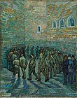 A group of male prisoners (or inmates), walk around and around in a circle, in an indoor prison (or hospital) yard. The high walls and the floor are made of stone. In the right foreground the men are being watched by a small group of three, two men in civilian clothes with top hats and a policeman in uniform. One of the prisoners in the circle looks out towards the viewer, and he has the face of Vincent van Gogh.